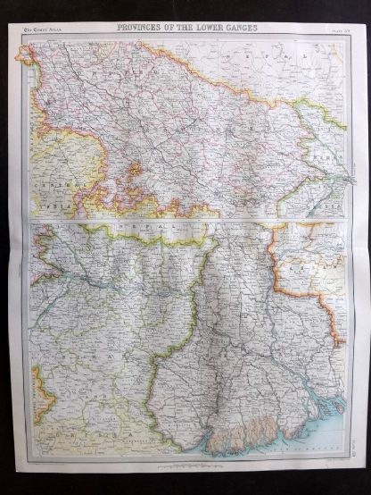 Bartholomew 1922 Large Map. Ganges Valley from Delhi to Calcutta. India